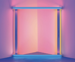 Dan Flavin Untitled (to Donna) 6, 1971 [Sin título (a Donna) 6] Tubos fluorescentes de luz azul, rosa y amarilla, 244 x 244 cm Legado de Dan Flavin; Cortesía David Zwirner, Nueva York © 2019 Stephen Flavin / Artists Right Society (ARS), New York